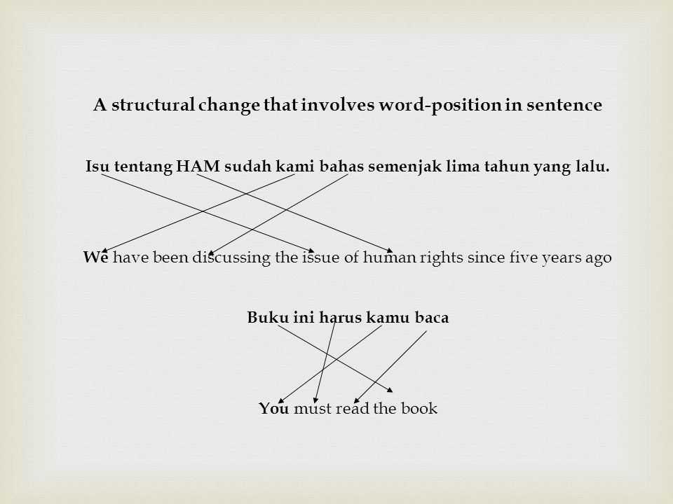 A structural change that involves word-position in sentence