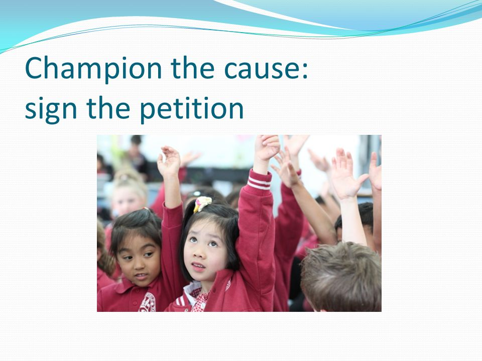 Champion the cause: sign the petition