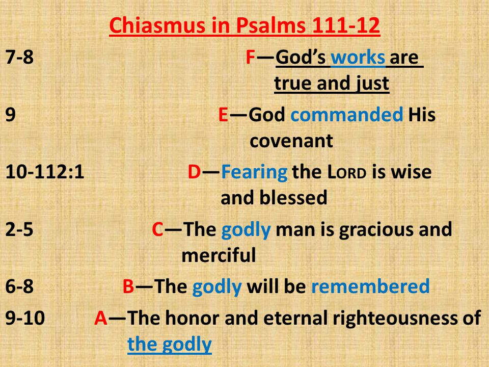 Chiasmus in Psalms 111-12