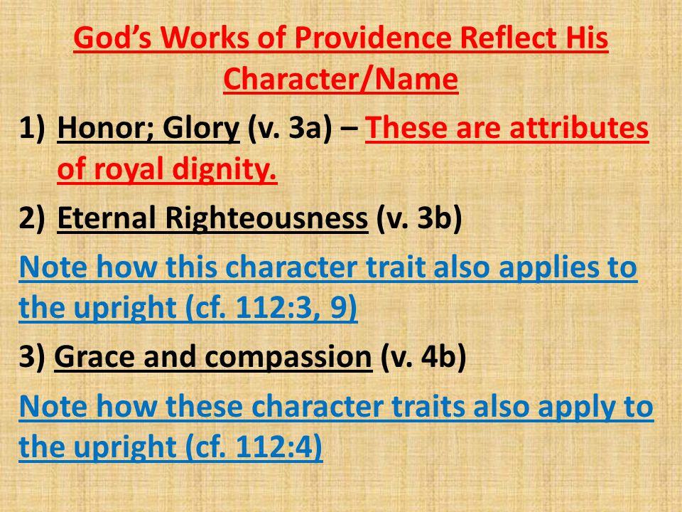 God's Works of Providence Reflect His Character/Name