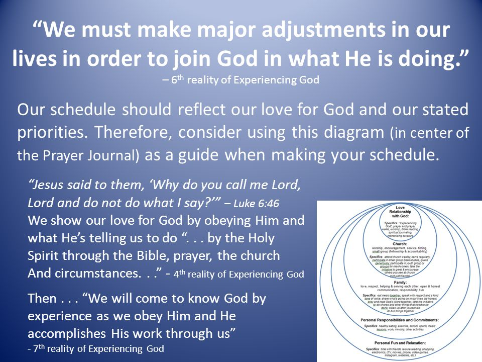 We must make major adjustments in our lives in order to join God in what He is doing. – 6th reality of Experiencing God