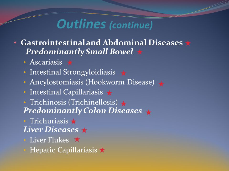 Outlines (continue) Gastrointestinal and Abdominal Diseases