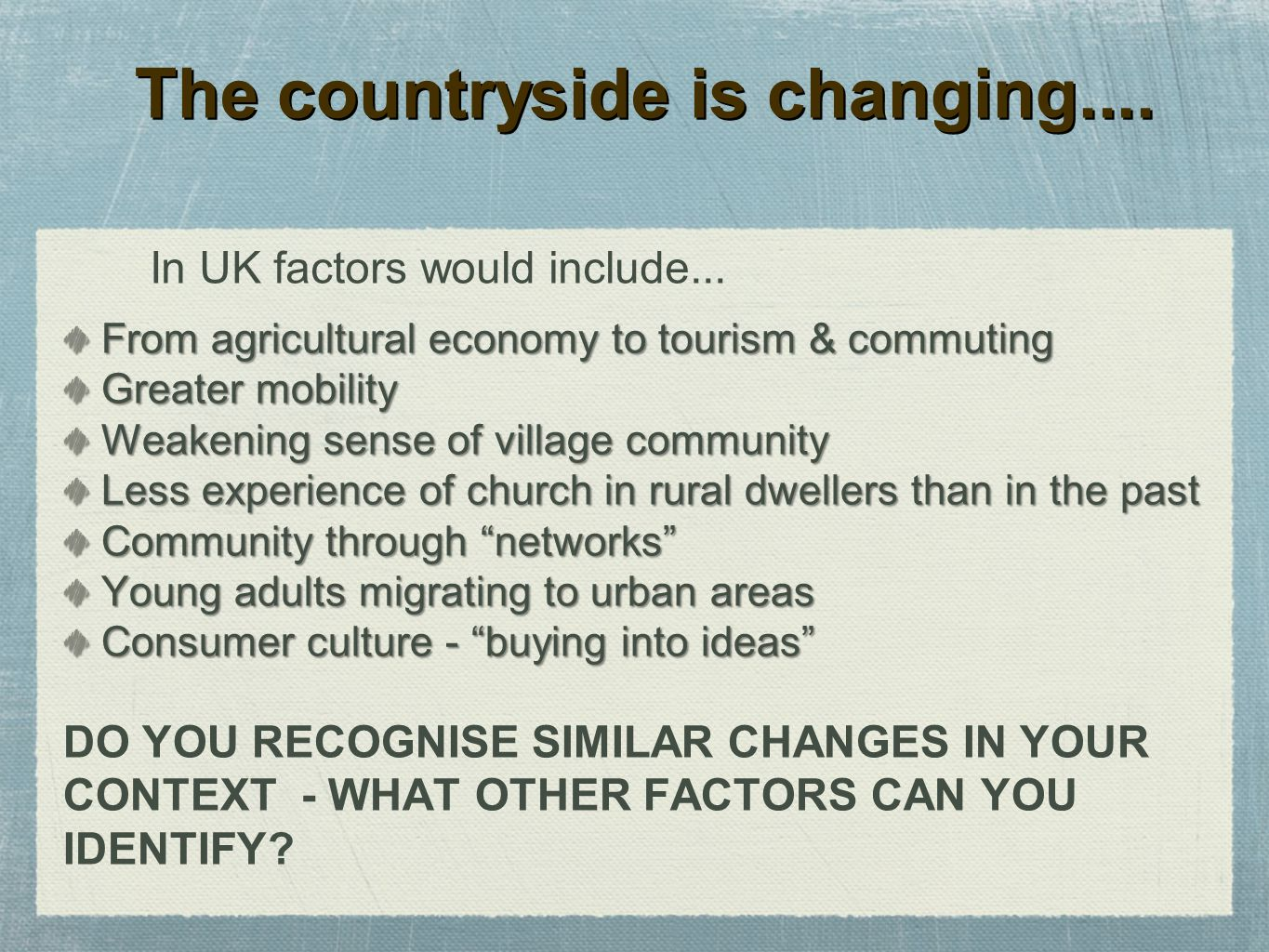 The countryside is changing....