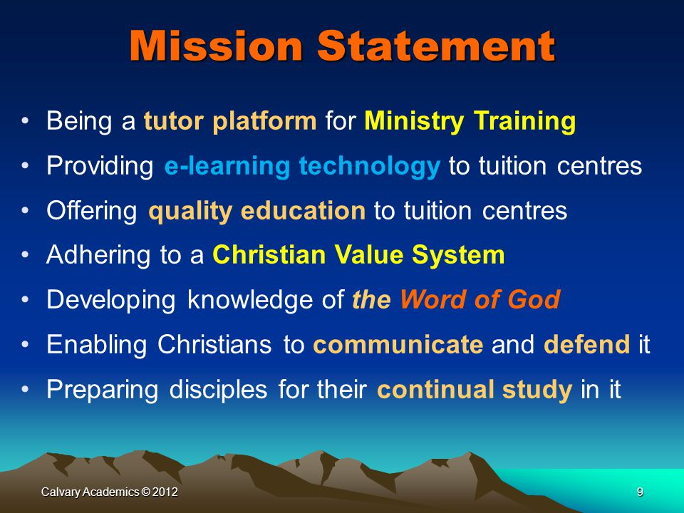 Mission Statement Being a tutor platform for Ministry Training