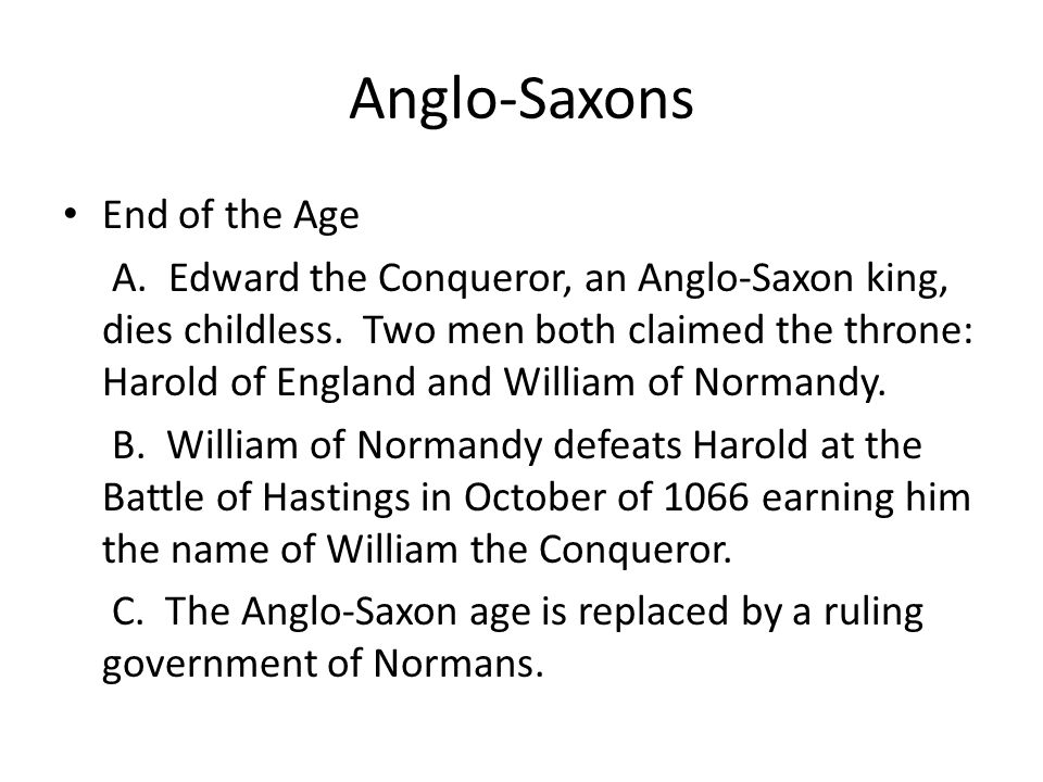 Anglo-Saxons End of the Age