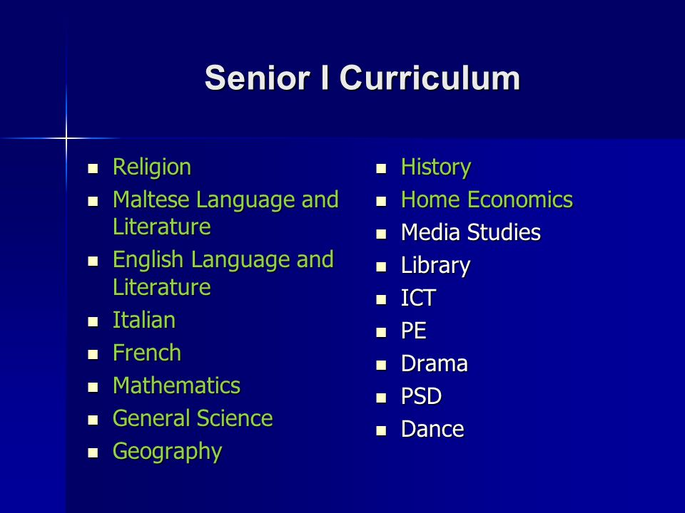 Senior I Curriculum Religion Maltese Language and Literature