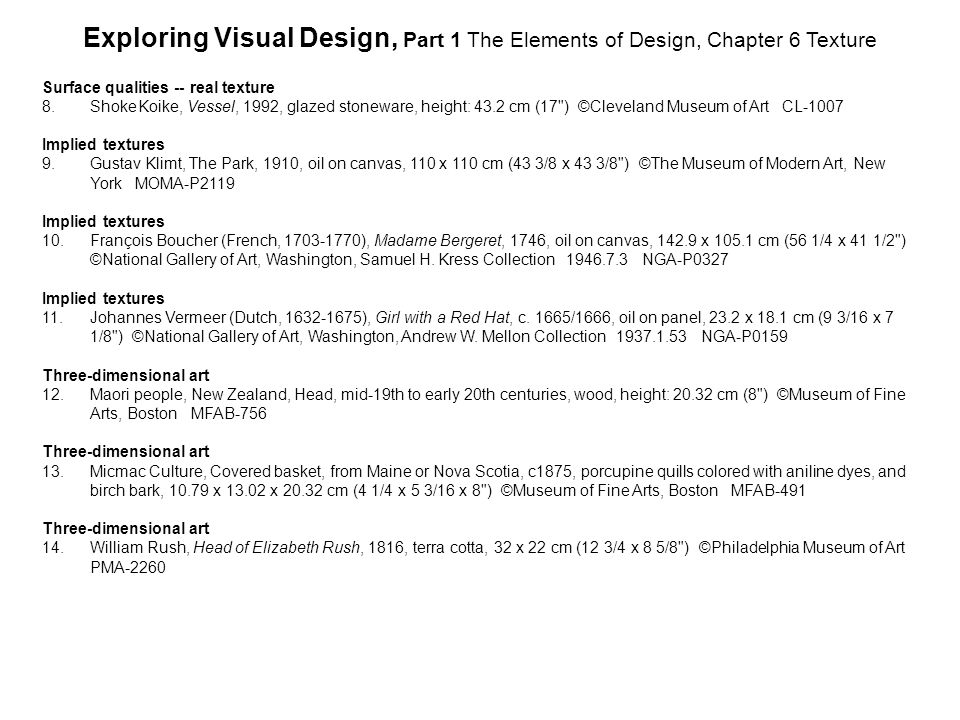 Exploring Visual Design, Part 1 The Elements of Design, Chapter 6 Texture