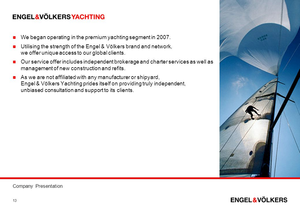 We began operating in the premium yachting segment in 2007.