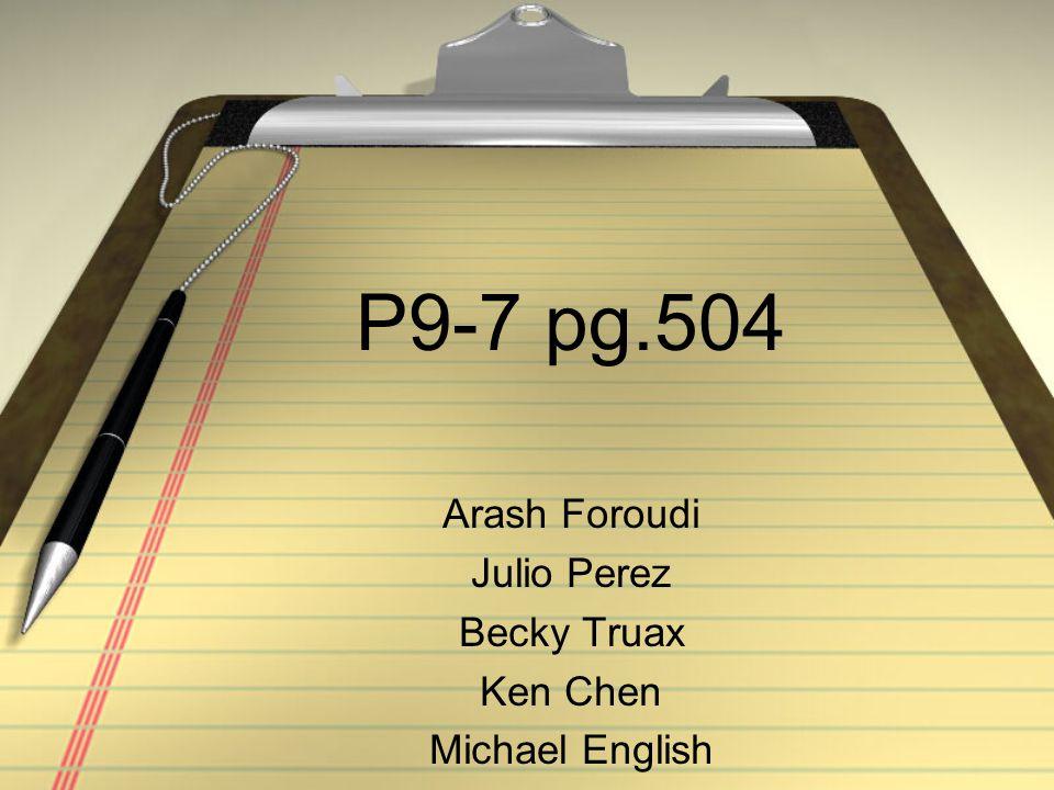 Arash Foroudi Julio Perez Becky Truax Ken Chen Michael English
