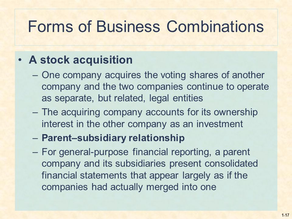 Forms of Business Combinations