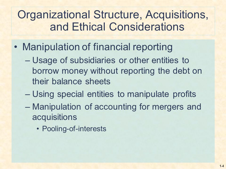 Organizational Structure, Acquisitions, and Ethical Considerations