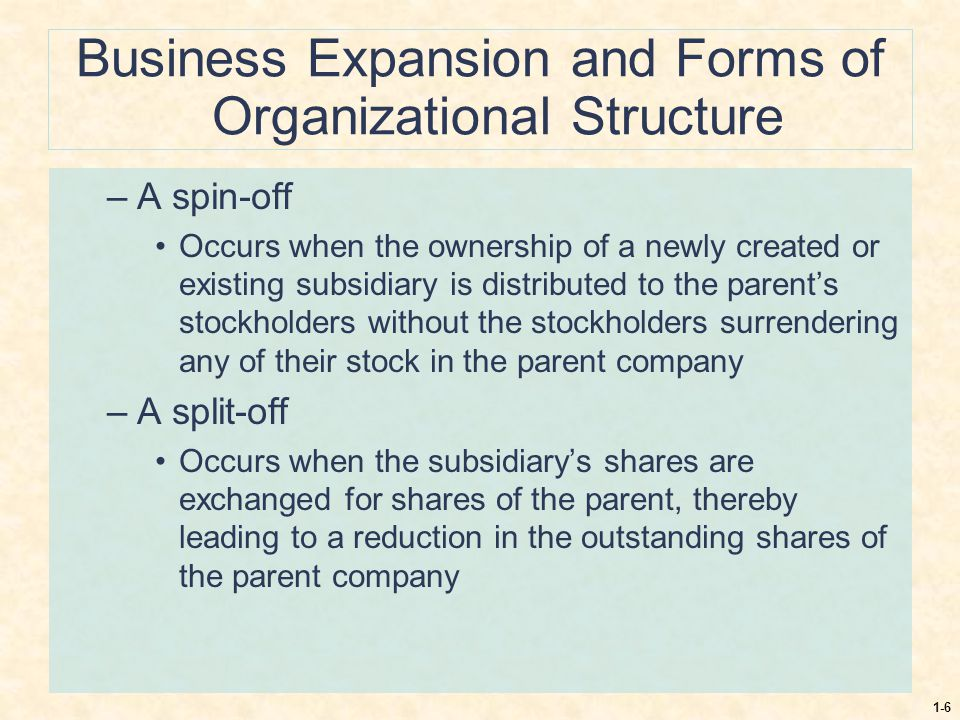 Business Expansion and Forms of Organizational Structure