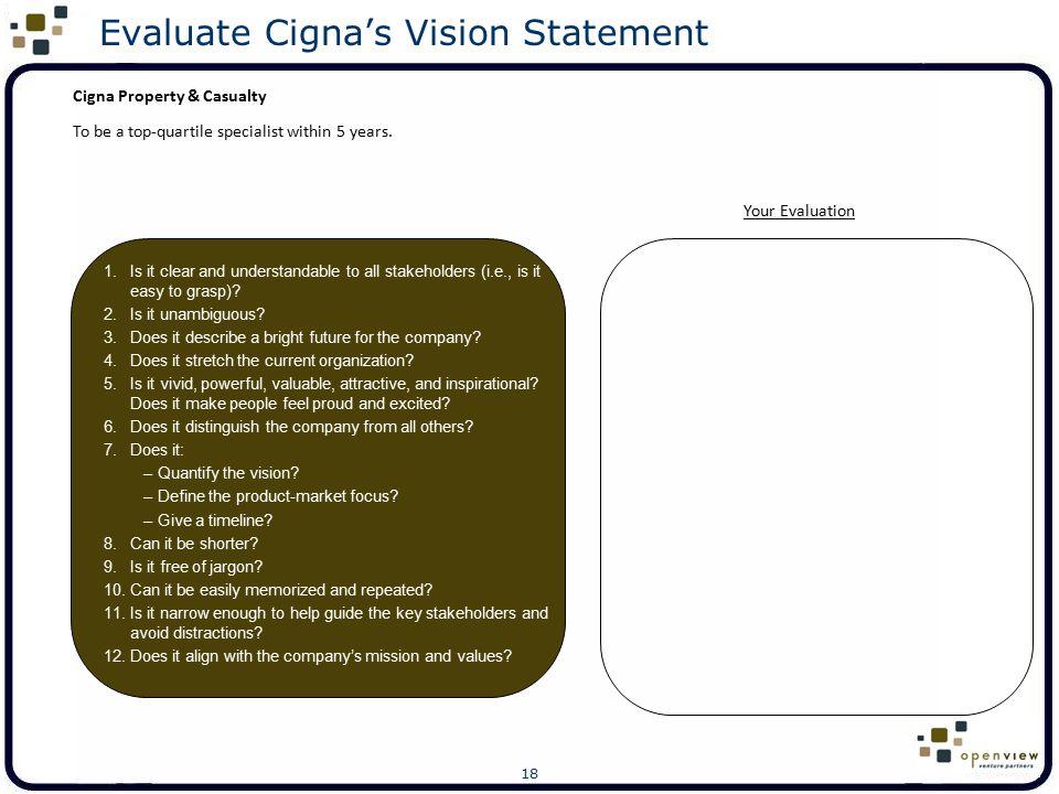 Evaluate Cigna's Vision Statement