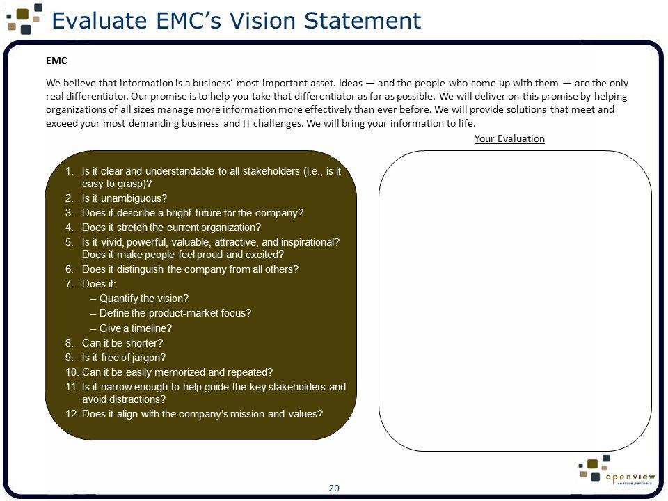 Evaluate EMC's Vision Statement