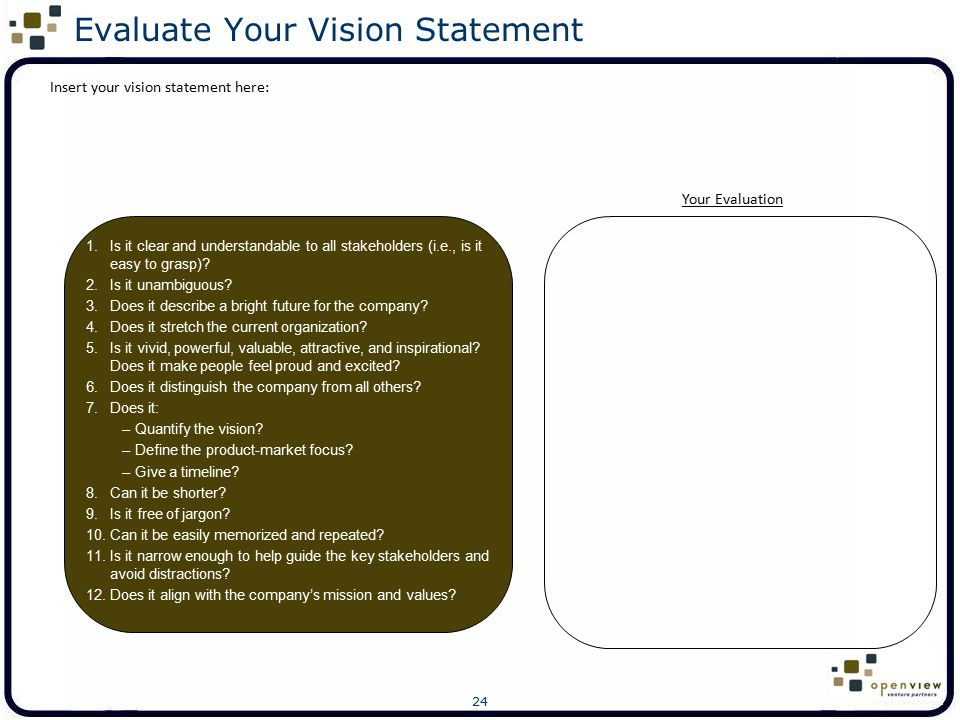 Evaluate Your Vision Statement