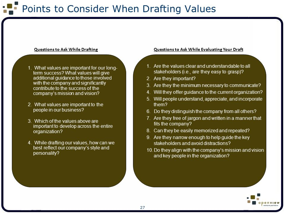 Points to Consider When Drafting Values
