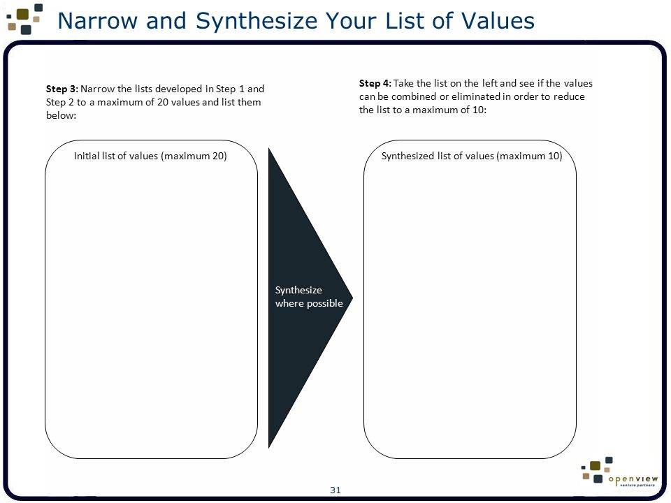 Narrow and Synthesize Your List of Values