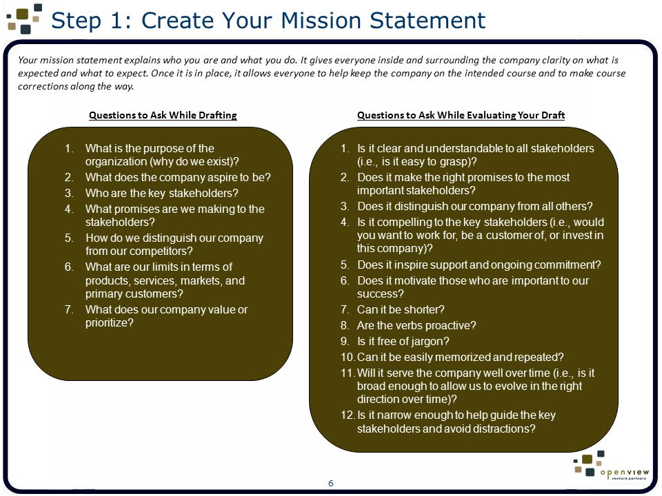 Step 1: Create Your Mission Statement