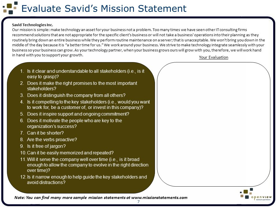 Evaluate Savid's Mission Statement