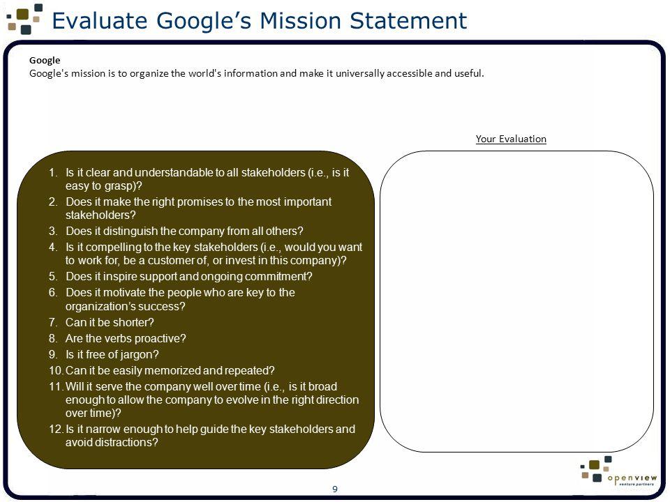 Evaluate Google's Mission Statement