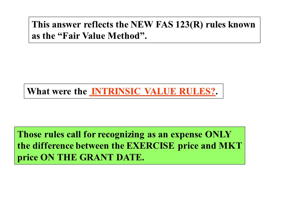 This answer reflects the NEW FAS 123(R) rules known
