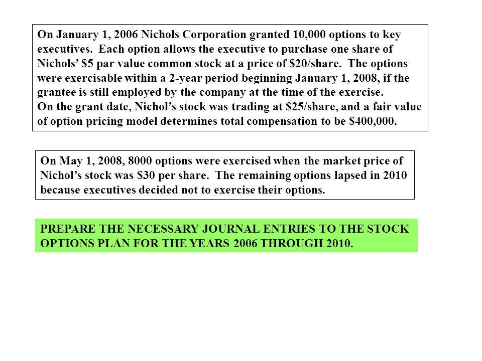 On January 1, 2006 Nichols Corporation granted 10,000 options to key