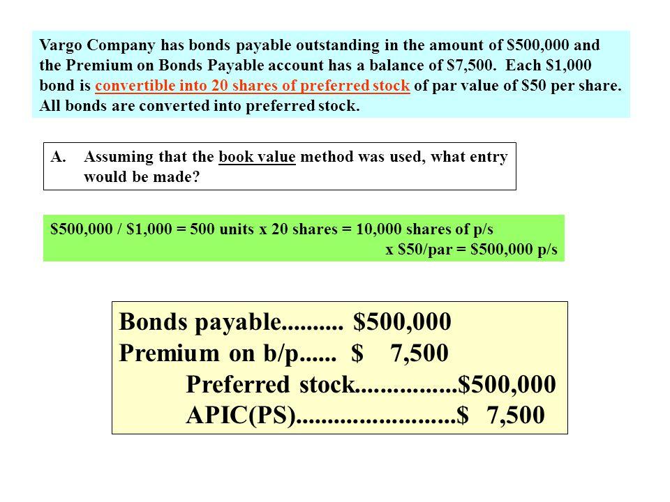 Bonds payable.......... $500,000 Premium on b/p...... $ 7,500