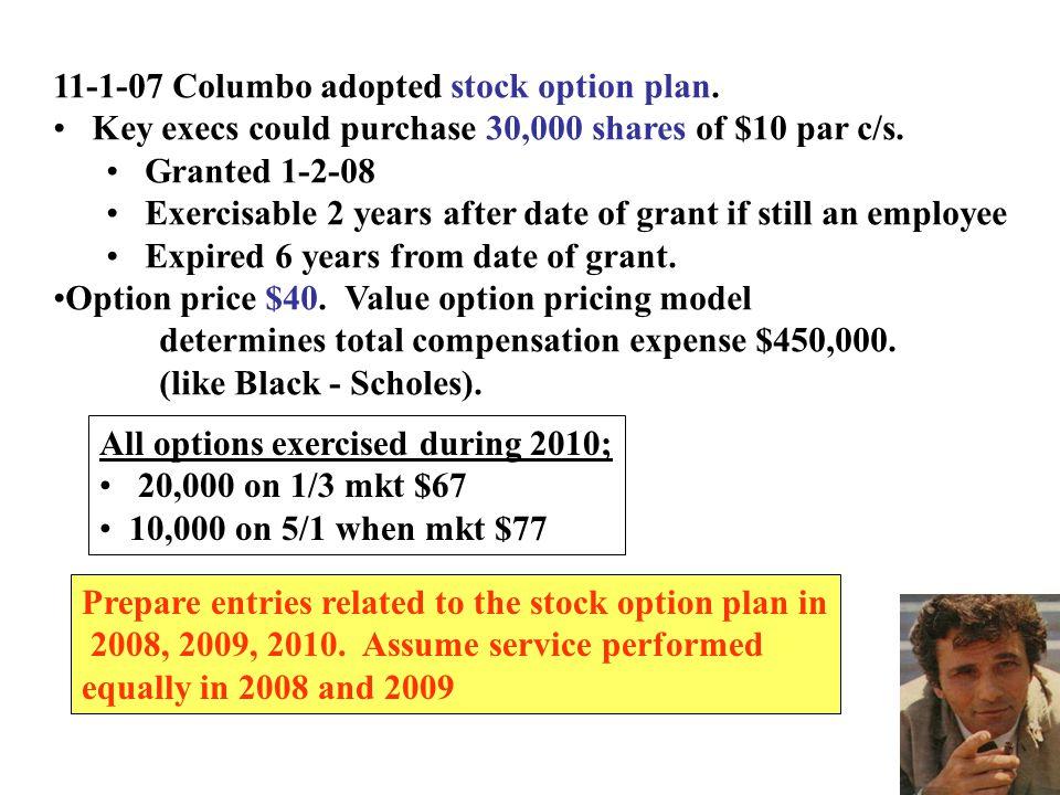 11-1-07 Columbo adopted stock option plan.