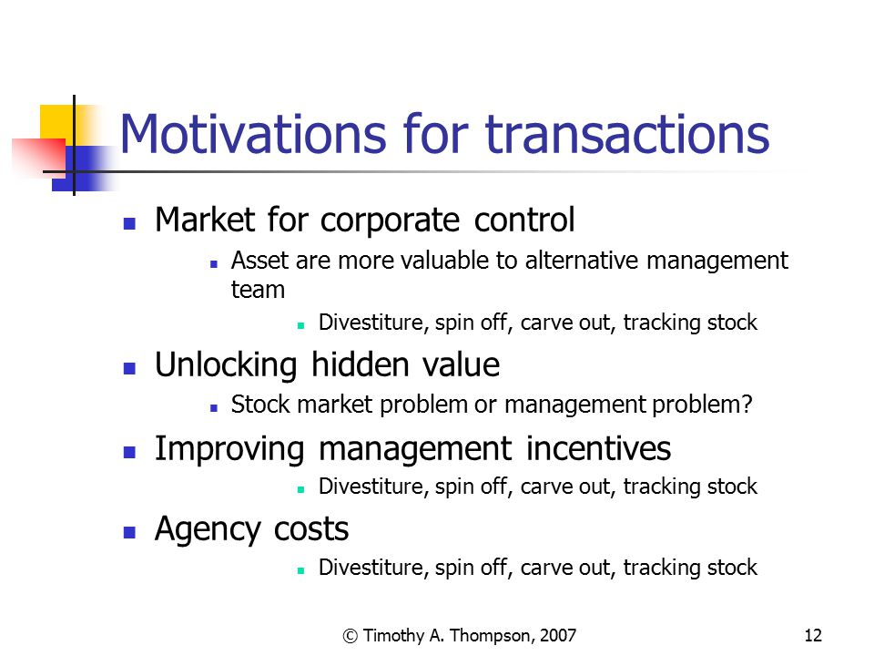 Motivations for transactions