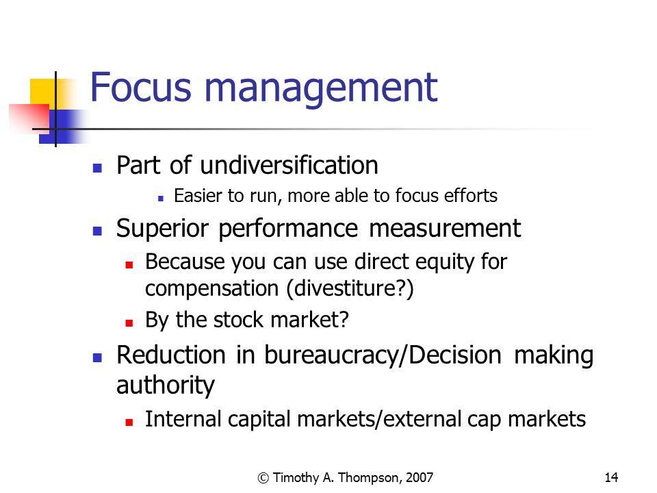 Focus management Part of undiversification