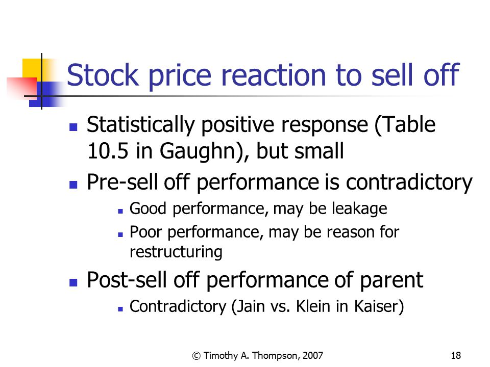 Stock price reaction to sell off