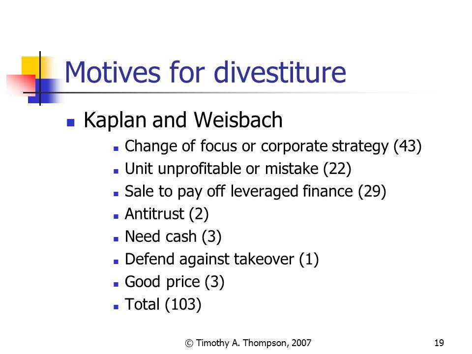 Motives for divestiture