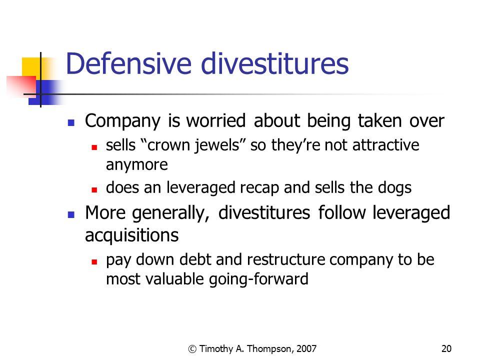 Defensive divestitures
