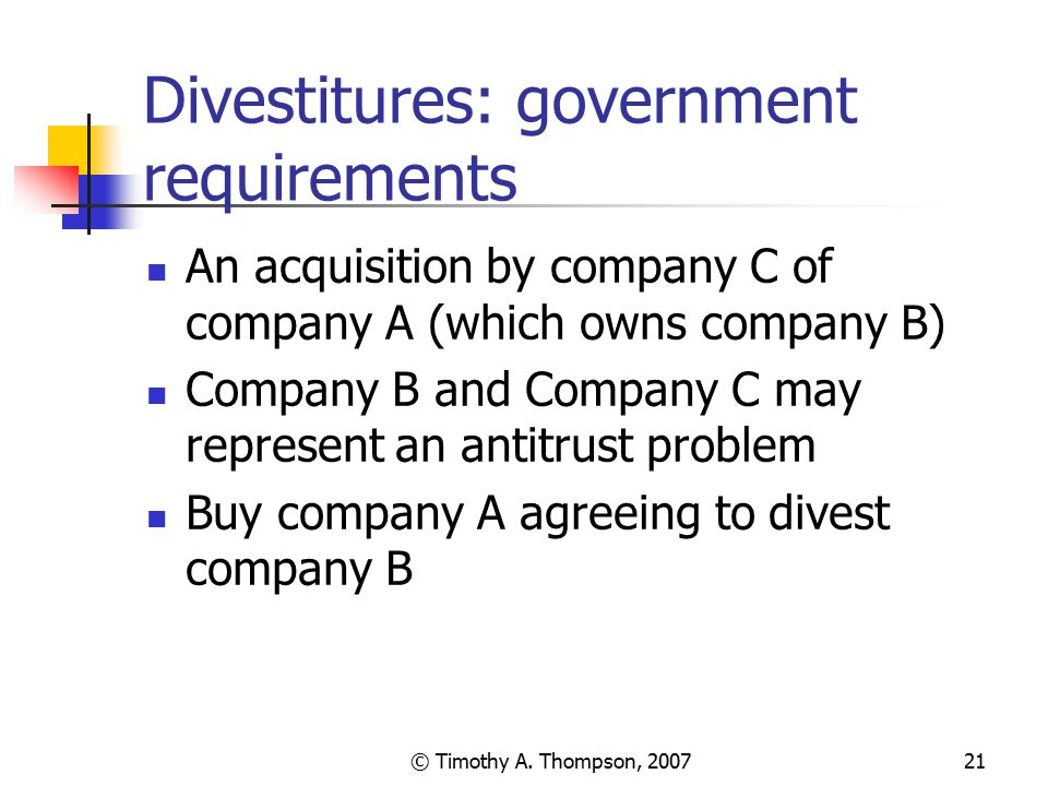 Divestitures: government requirements