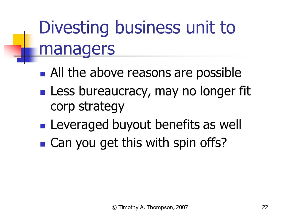 Divesting business unit to managers