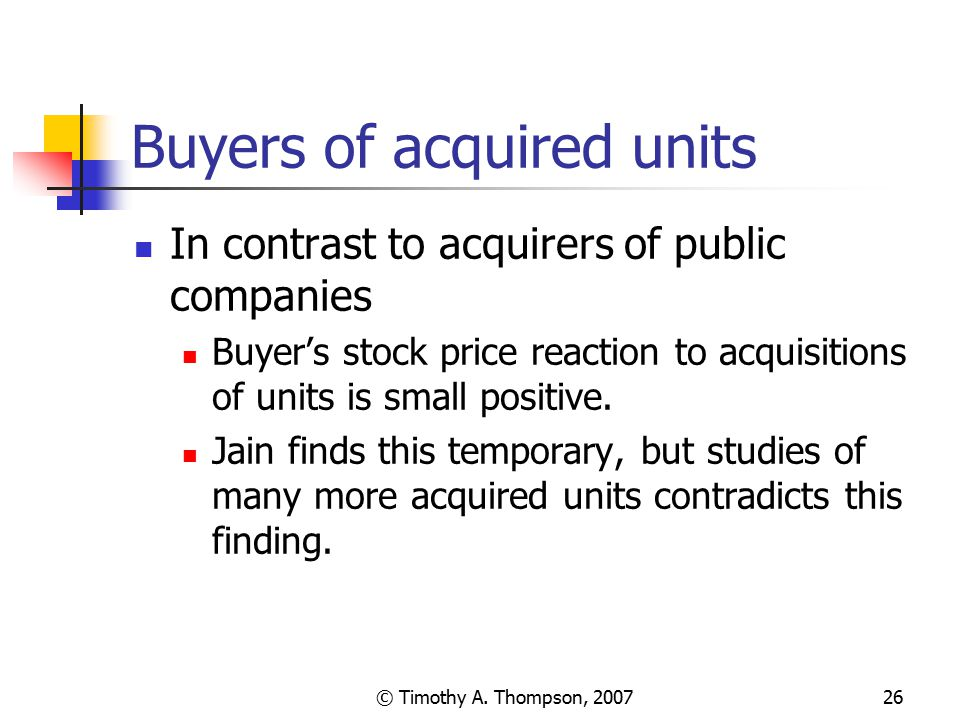 Buyers of acquired units