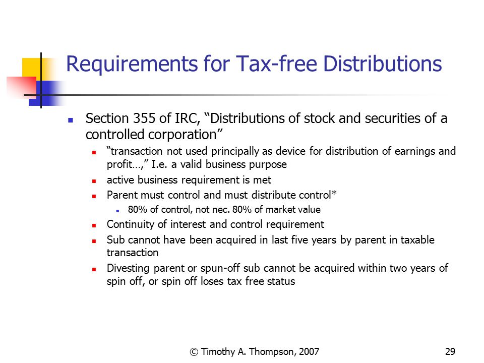 Requirements for Tax-free Distributions