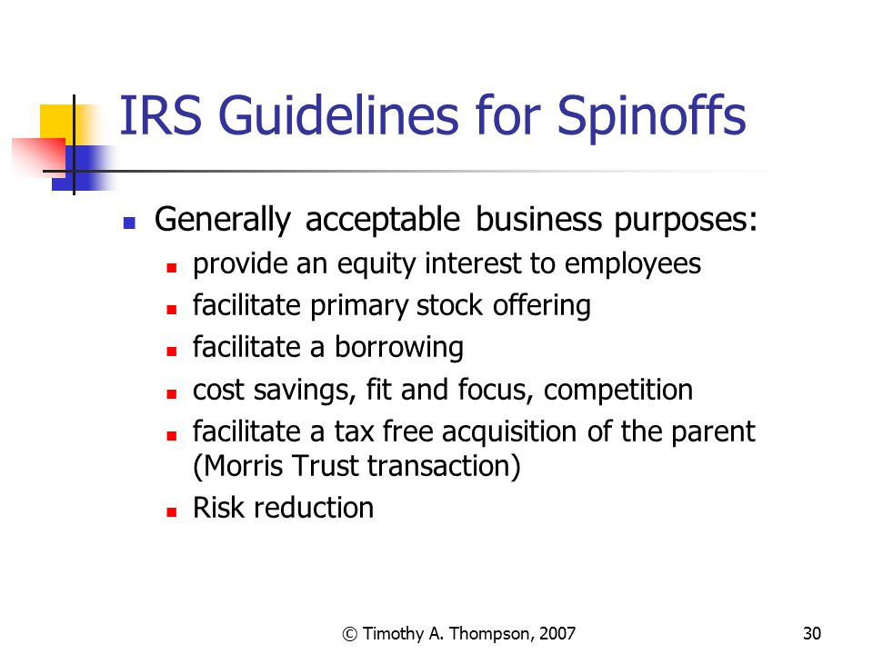IRS Guidelines for Spinoffs