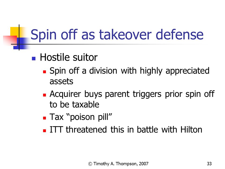 Spin off as takeover defense