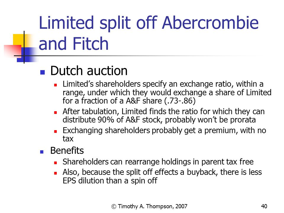 Limited split off Abercrombie and Fitch