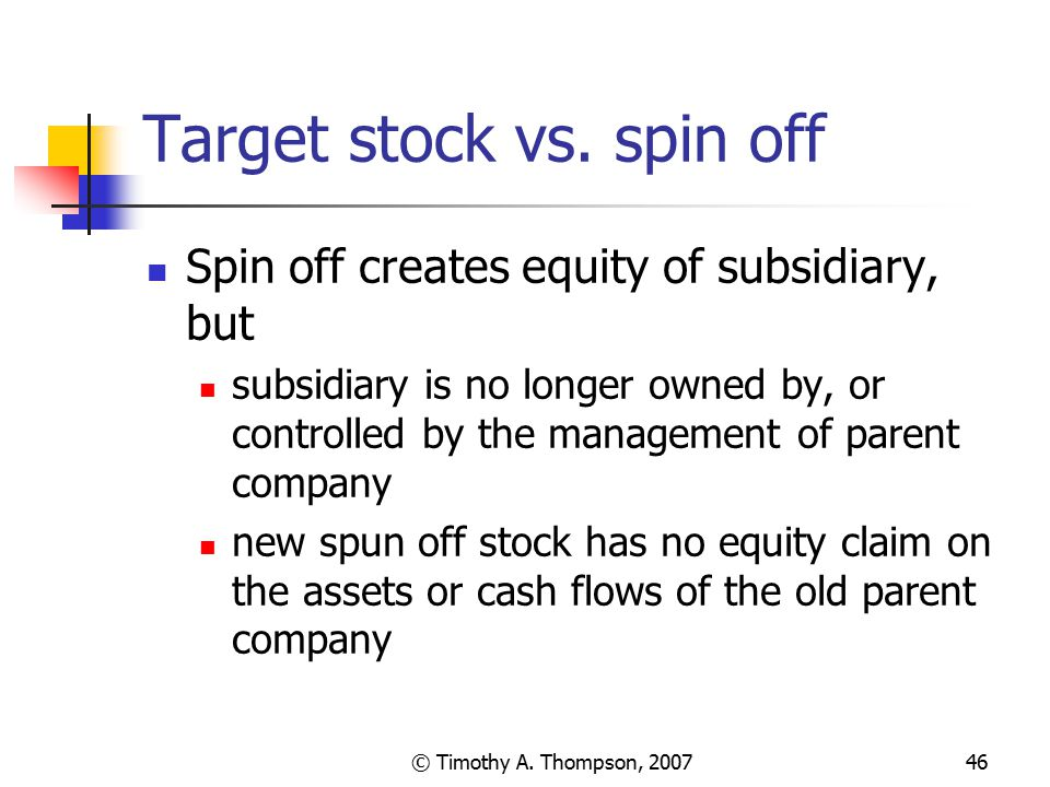 Target stock vs. spin off