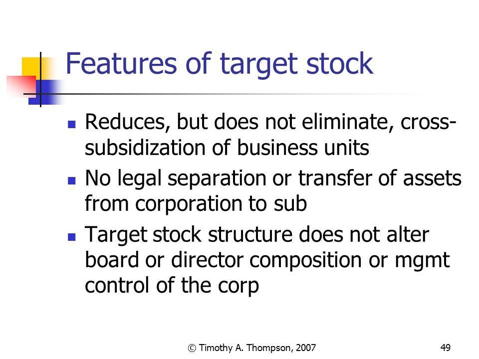 Features of target stock