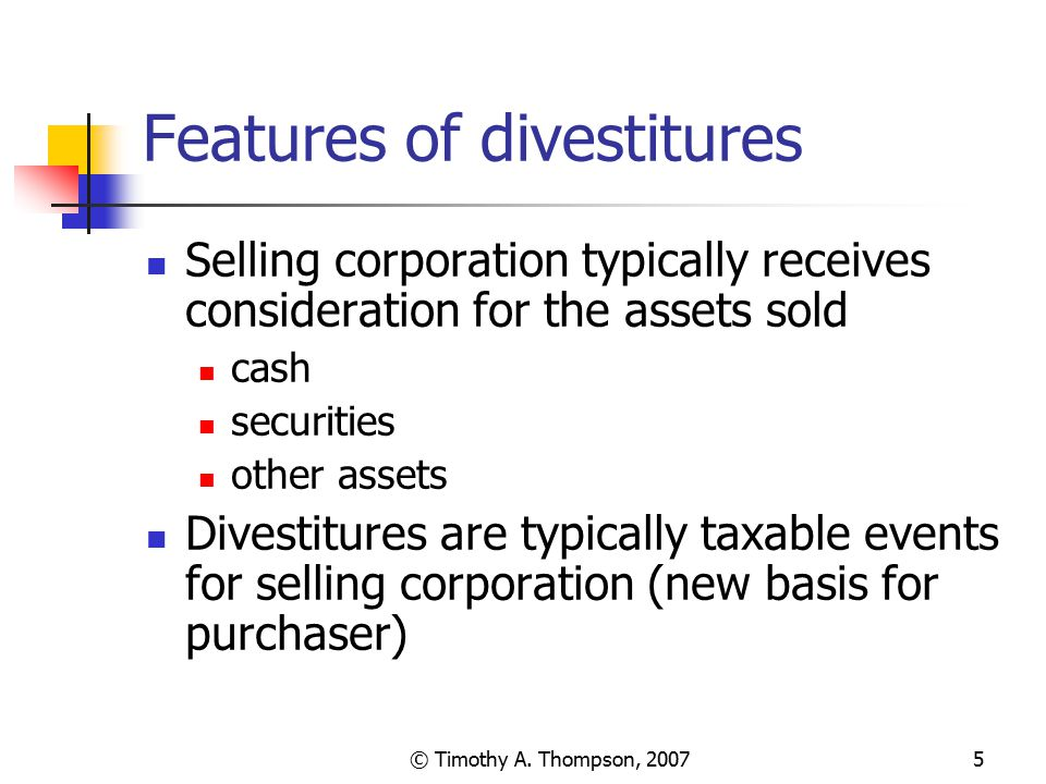 Features of divestitures