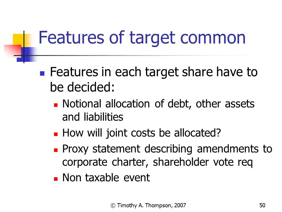 Features of target common