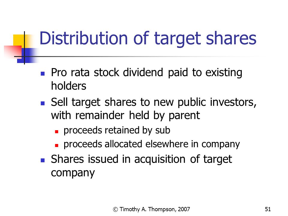 Distribution of target shares