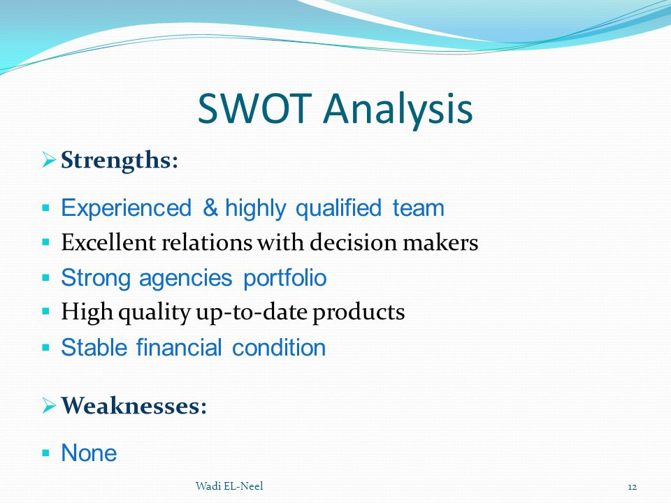 SWOT Analysis Strengths: Experienced & highly qualified team