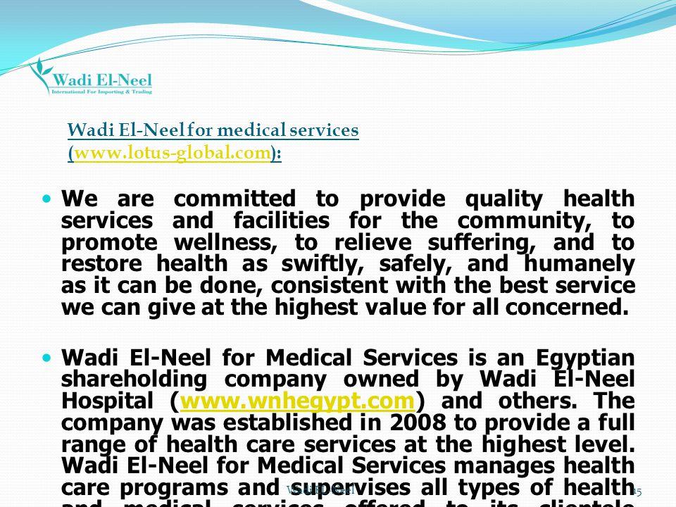 Wadi El-Neel for medical services (www.lotus-global.com):