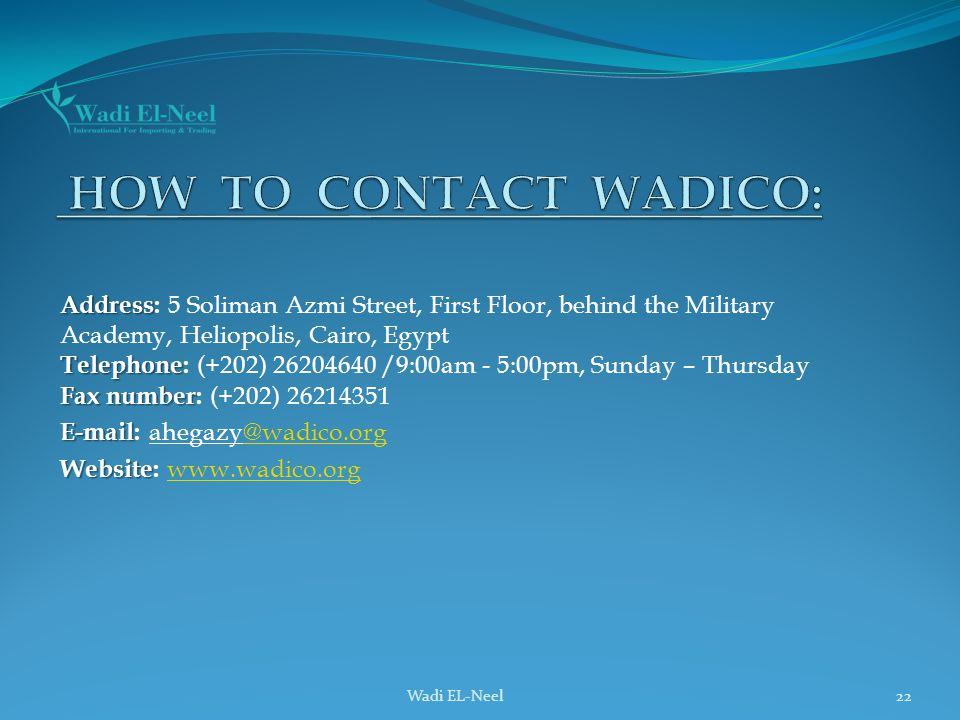 How to CONTACT wadico: