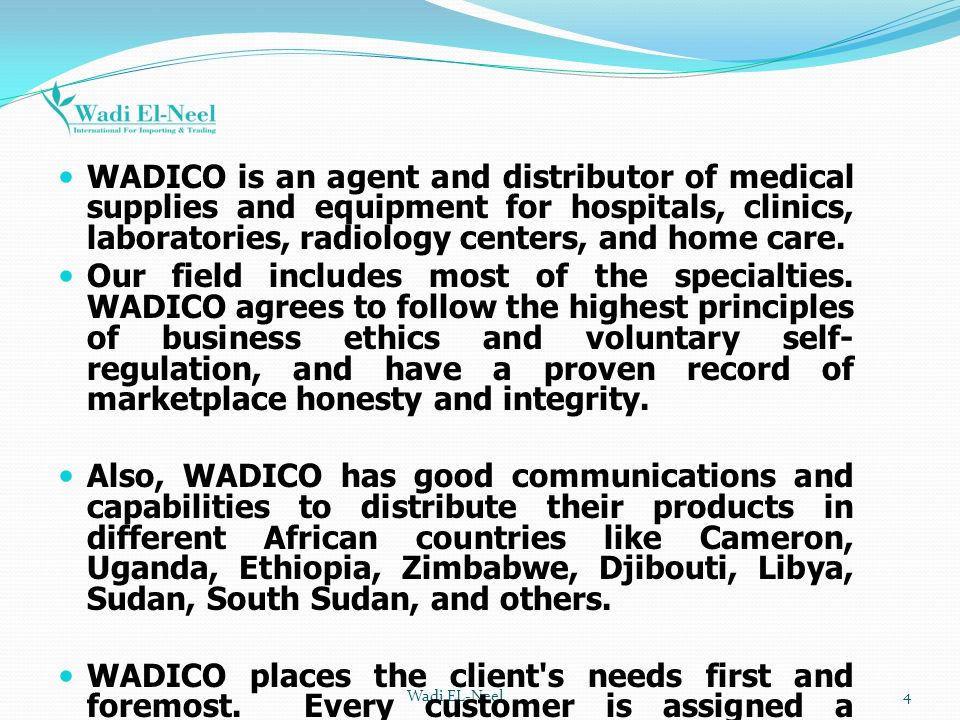 WADICO is an agent and distributor of medical supplies and equipment for hospitals, clinics, laboratories, radiology centers, and home care.