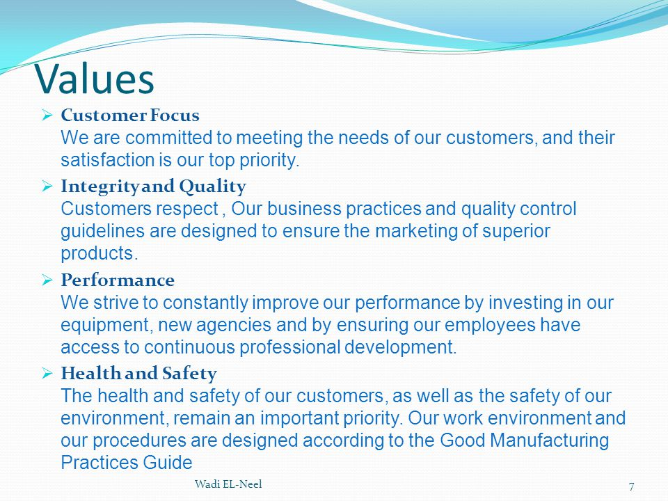 Values Customer Focus We are committed to meeting the needs of our customers, and their satisfaction is our top priority.